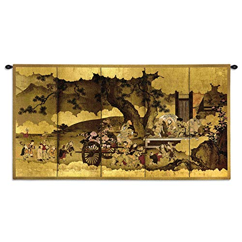 Seven Gods of Good Fortune and Chinese Children | Woven Tapestry Wall Art Hanging | Japanese Edo Period Folding Panel Ink Artwork | 100% Cotton USA Size 53x28