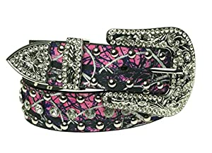 Women's Muddy Girl Camo Bling Rhinestone Belt Medium