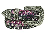 Muddy Girl Pink Camo Belt - Women's Western Cowgirl Rhinestone Studded Bling Belt with Buckle X-Large
