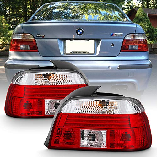 ACANII - For 1997 1998 1999 2000 BMW E39 528i 540i M5 Red Clear Tail Lights Rear Brake Lamps Driver & Passsenger Side ()