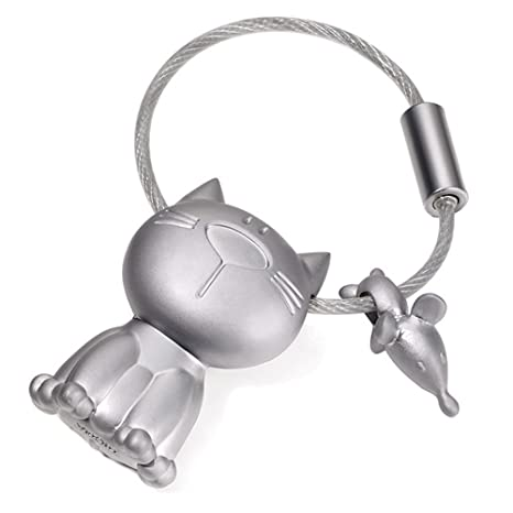 TROIKA - KR14-20 - Llavero del Gato y el ratón, Metal Fundido, Mate