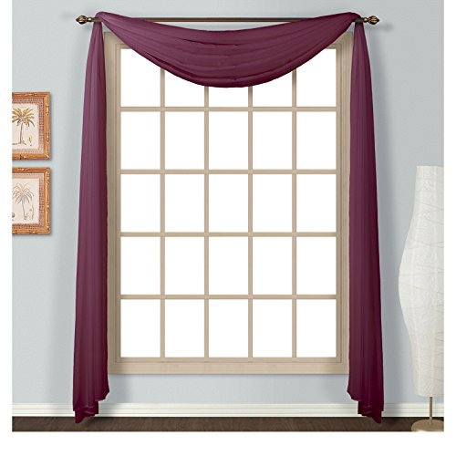 1 Piece Coordinating Voile Luxury Four-Yard 144-Inch Burgundy Scarf Topper, Curtain, Contemporary Style, Beautiful Design, Solid Pattern, Polyester Material, Valance Type: Scarf, Berry Red, Mahogany