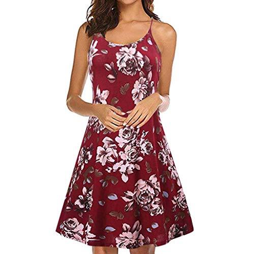 Mujer Honda De Playa Slyar Falda Nuevo Vestidos Simple Sin Rodilla Impresión Vestido Verano Rojo Mangas 2019 La Moda Fiesta wqPSStpEX