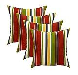 RSH Décor Set of 4 Indoor/Outdoor Lumbar Square Throw pillows (17''x17'') Covert Garden Stripe Red, Blue, Green, Yellow, White