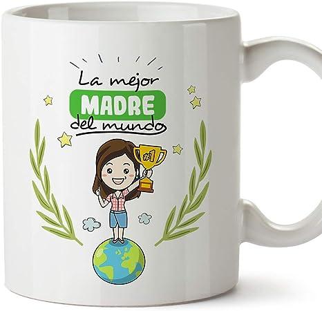 MUGFFINS Taza Mamá - La Mejor Madre del Mundo - Taza Desayuno/Idea Regalo Día de la Madre y la abuela. Cerámica 350 mL: Amazon.es: Hogar