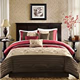 King Size Complete Bedding Set Madison Park Serene King Size Bed Comforter Set Bed in A Bag - Red, Embroidered – 7 Pieces Bedding Sets – Faux Silk Bedroom Comforters