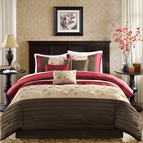 King Size Bed Comforter Set Bed in A Bag - Red, Embroidered – 7 Pieces Bedding Sets – Faux Silk Bedroom Comforters ()