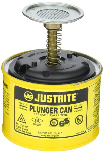 Justrite 10018 Steel Plunger Can, 0.5L Capacity, Yellow