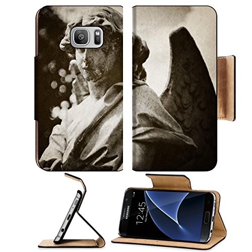 MSD Premium Samsung Galaxy S7 Flip Pu Leather Wallet Case IMAGE 21524828 Angel tombstone vintage (Angel Tombstone)