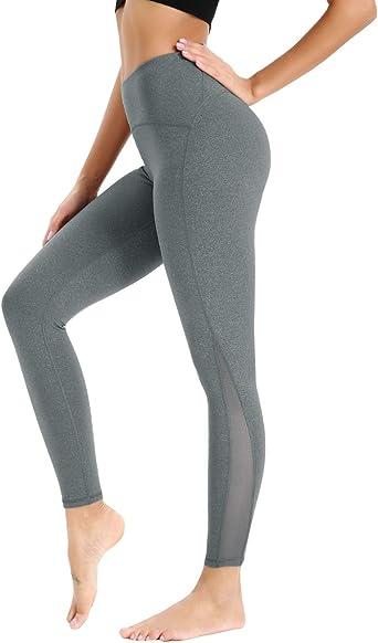 UK Womens Yoga Pants High Waist Mesh Sports Leggings Gym Fitness Running Workout
