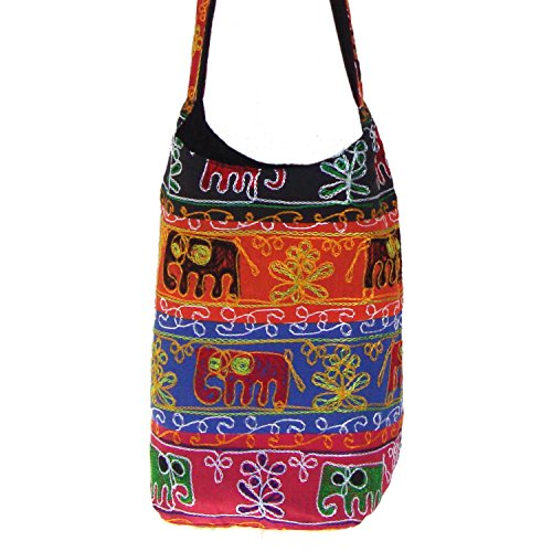 Bella Elephant Aari ricamato in cotone Jhola Shopping Borsa