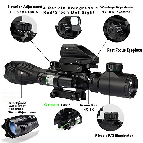Review Hunting AR15 Tactical Combo Rifle Scope C4-16x50EG with Green Laser and 4 Holographic Red&Green Dot Sight (12 Month Warranty) for 22&11mm Weaver/Picatinny Rail Mount