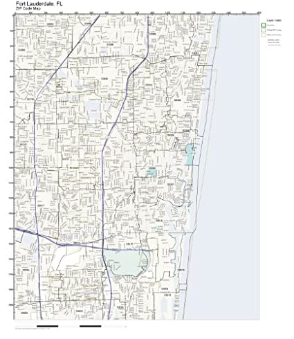Map Of Fort Lauderdale Florida.Amazon Com Zip Code Wall Map Of Fort Lauderdale Fl Zip Code Map