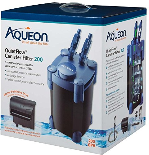 Aqueon QuietFlow Canister Filter 200 GPH, For Up to 55 Gallon Aquariums (Best Canister Filter For 55 Gallon Aquarium)