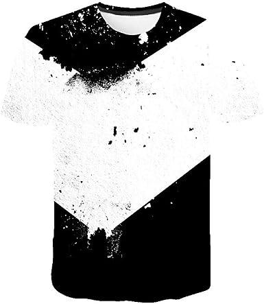 Star source Camiseta Negra y Blanca con Salpicaduras de Tinta Camisa 3DT con Cuello Redondo y Personalidad Informal de Manga Corta Camiseta Creativa de Calle de Verano de Manga Corta: Amazon.es: Ropa