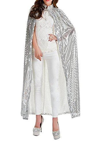 Halloween Party Festival Magic Cosplay Sequin Glitter Costume Bling Cloak Cape Robe Coat Shawl Outwear Silver -