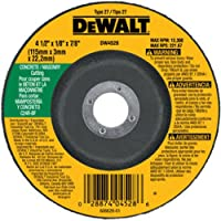 DEWALT DW4528 4-1/2-Inch by 1/8-Inch by 7/8-Inch Concrete/Masonry Cutting Wheel