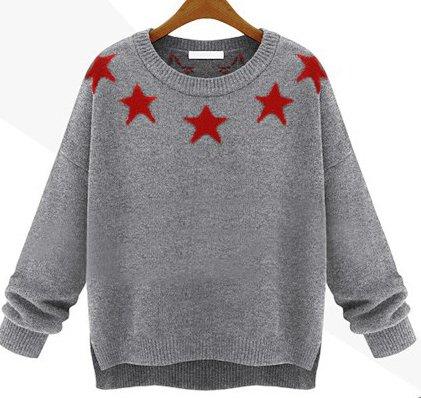 (アールティーセレクト)RT Select  レディース  セーター  カーディガン ニット   長袖セーター ラウンドネックセーター 星柄セーター オフショルダー サイドスリット  ゆったり感         TJ259