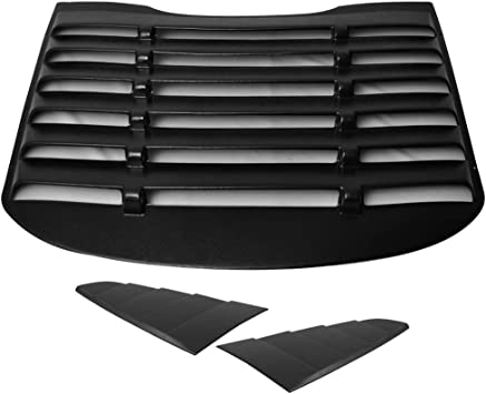 Matte Black IKON Style,with Side Quarter Scoop Louvers IKON MOTORSPORTS Rear Window Louver Compatible With 2015-2020 Ford Mustang