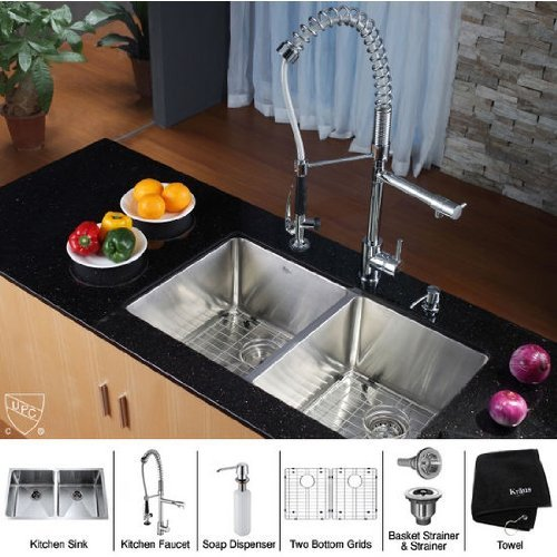 Level Double Bowl Kitchen Sink - Kraus KHU102-33-KPF1602-KSD30CH 33 inch Undermount Double Bowl Stainless Steel Kitchen Sink with Chrome Kitchen Faucet and Soap Dispenser