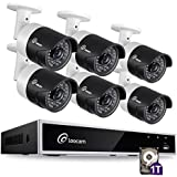 Loocam 8-Channel HD-TVI 1080N/720p Video Security System DVR Recorder with 6x 1.0 Mp(1280X720) Surveillance Camera Kit 1TB Hard Drive, Motion Detection & Email Alert, Intuitive Android & iOS APP