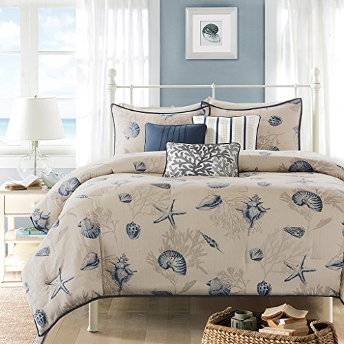 Madison Park Bayside Duvet Cover Full/Queen Size - Blue, Khaki, Seashells Duvet Cover Set - 6 Piece - 100% Cotton Sateen Light Weight Bed Comforter Covers ()
