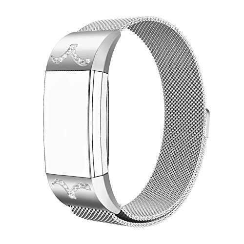 Fitbit Charge 2 Milanese Bands Metal Silver, Swees Replacement Small & Large Stainless Steel Magnetic Wristband Bracelet Watch Band for Fitbit Charge 2, Silver