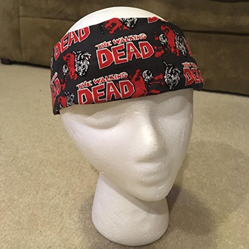 Gray & Red The Walking Dead Headband, Reversible 2-in-1 Cotton Unisex Headwrap with Human Organs on Front, Black Swirl Pattern on Back, One Size Fits Most (Handmade in the USA)