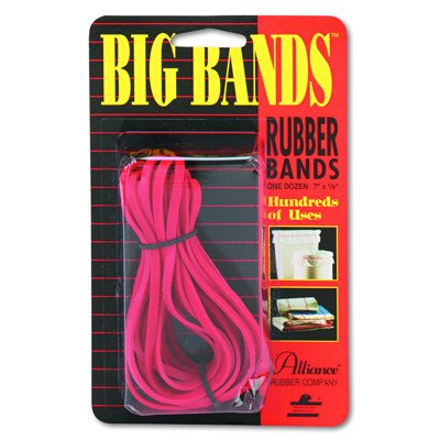 Alliance : Big Bands Red Rubber Bands, 1/8 x 7, 12 per Pack