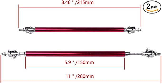 ROADFAR 2x Universal Adjustable Bumper Lip Diffuser Splitter Rod Strut Tie Bar 7.87 to 10.6