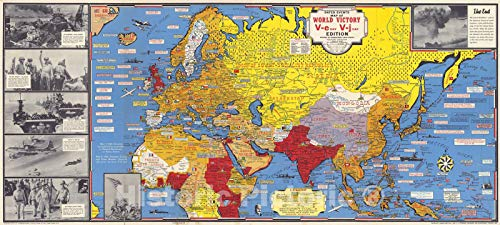 Historic Map | Dated Events Map of World War II Victory, 1945 | Vintage Wall Art | 24in x 11in ()