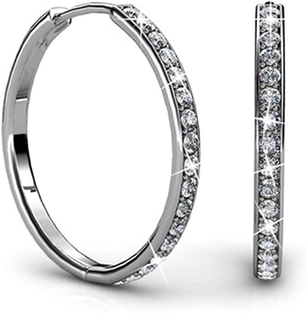 55963f7a5 Jade Marie AMBITIOUS Large Silver Hoop Earrings, 18k White Gold Plated  Round Hoop Earrings with