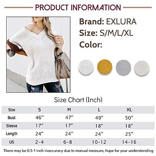 Exlura V Neck Long Lantern Sleeve Sweater Color Block Chunky Pullover Oversized Jumper