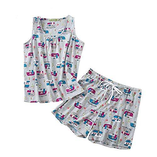 PNAEONG Women Cotton Sleepwear Short Sets Tank&Short Pajamas Sets XTSY208-Gray Bus-M