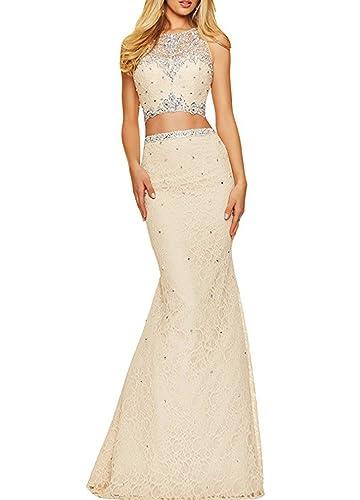 SIQINZHENG Women's Beaded Rhinestones Illusion O-Neck Two Pieces Dress Mermaid Evening Prom Dresses