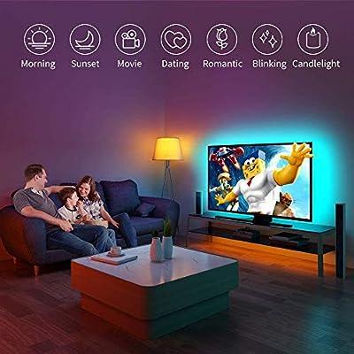 Govee tira de luces LED USB para TV de 40 – 60 pulgadas PC portátil 6.56 pies LED TV Backlight Kit actualizado App Control con 16 millones de DIY colores, blanco frío/cálido,