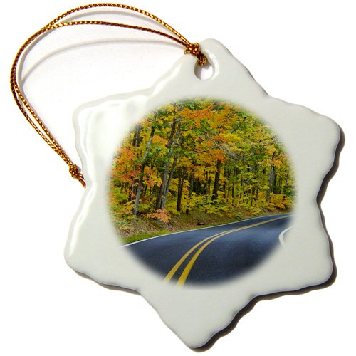 3dRose ORN_91156_1 Autumn, Highway 41, Copper Harbor, Michigan-Us23 Cha0102-Chuck Haney-Snowflake Ornament, 3-Inch, Porcelain