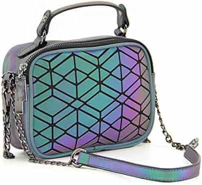 c8979f85d2d3 Geometric Luminous Purses Large Top-handle Handbags Fashion Holographic  Reflective Tote Shoulder Bag