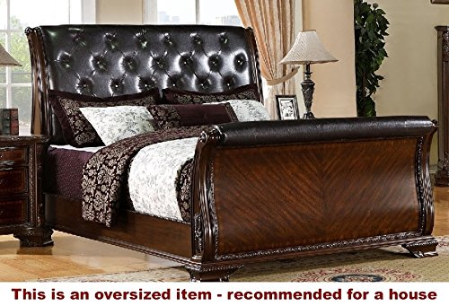 247SHOPATHOME IDF-7267CK Sleigh-Beds, California King, Cherry (King Wood Carvings Bed California)