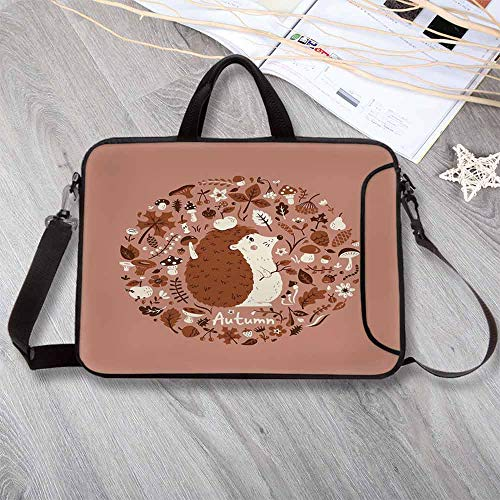 (Hedgehog Stylish Neoprene Laptop Bag,Autumn Theme Animal with Many Season Elements Pine Cone Leaves Soft Colors Laptop Bag for Business Casual or School,15.4