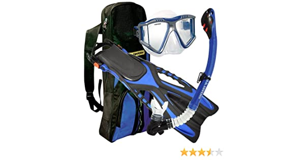 Amazon.com : U.S. Divers Lux Grenada LX Snorkel Purge Mask with Ryder Fins and Pro Bag Set (Electric Blue, Men (sm/md) 4.5-8.5 Lady (sm/md) 5-9.5) ...