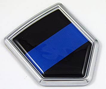 USA Police Thin blue line flag Screw On License plate Emblem Car Decal badge