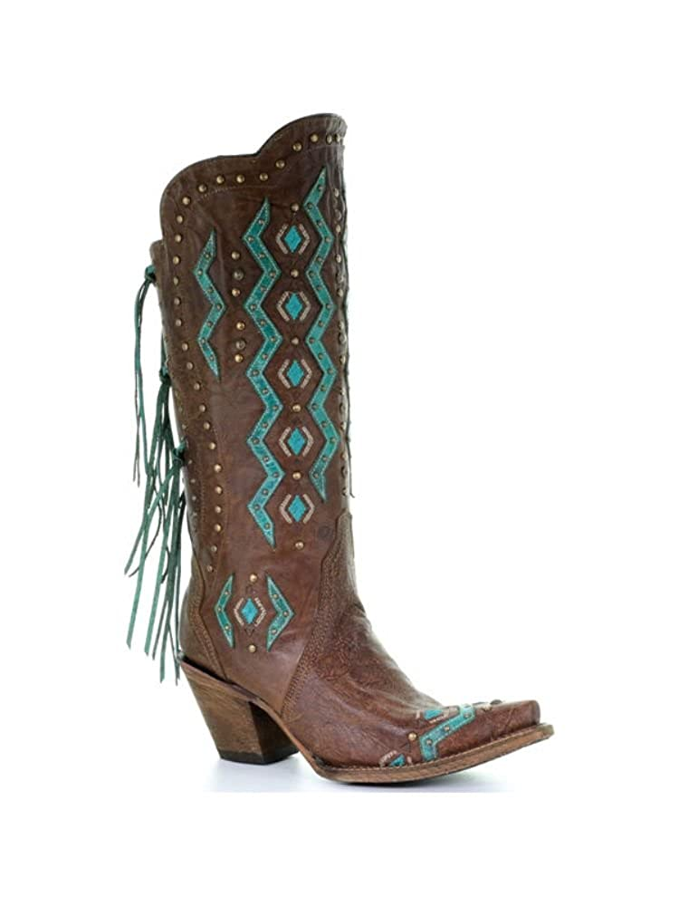 - Corral Boots Women's LD Turquoise Brown Goat Overlay & Embroidered Boot
