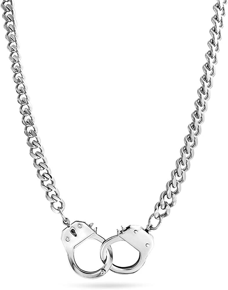 Working Lock Partners In Crime Black Handcuff Statement Necklace For Men for Women Black Or Silver Tone Stainless Steel
