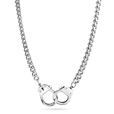 Bling jewelry secret shades polished handcuff pendant stainless bling jewelry secret shades polished handcuff pendant stainless steel necklace 22 inches aloadofball Image collections