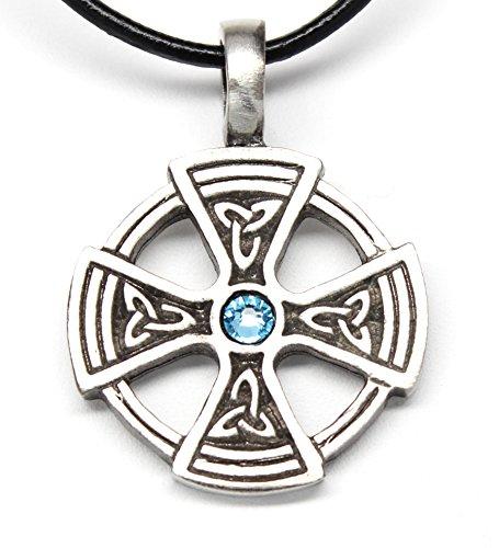 Pewter Solar Cross with Triquetra Pendant on Leather w/ Aqua Blue Swarovski Crystal March Birthday ()