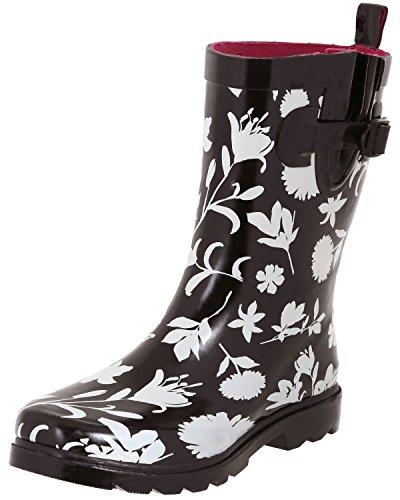 Capelli New York Ladies Two Tone Mid Calf Rubber Rain Boot Black Floral Design