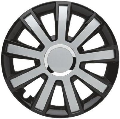 4 Tapacubos Tapacubos tipo flash III Negro/Plata apta para llantas de acero Citroen 16