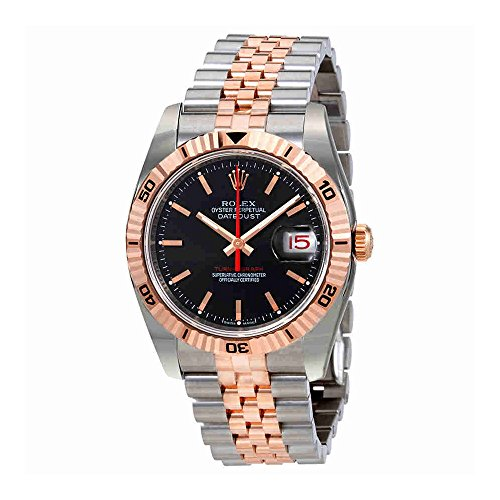 Rolex Datejust Automatic Black Dial Pink Gold and Stainless Steel Mens Watch 116261BKSJ