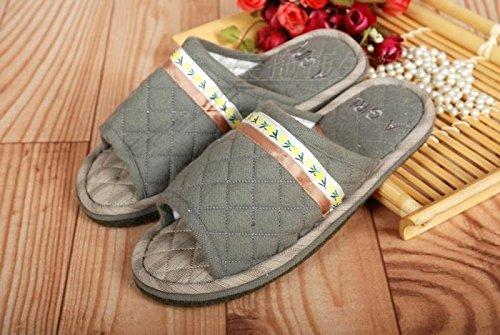 Couples Fankou Maison Chaussures Plancher Tapis Coton Pantoufles, 46, En Rouge
